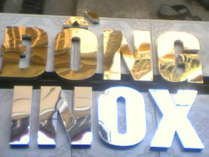 Bảng hiệu Quảng cáo chữ inox vàng