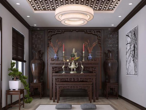 Mẫu phòng thờ cao cấp bằng gỗ tự nhiên